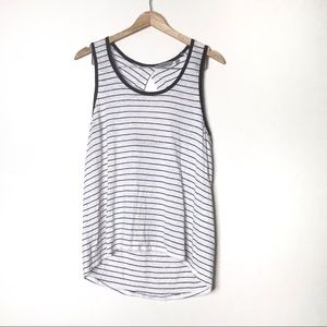 Athleta Linen Navy Stripe Newport Tank Top L